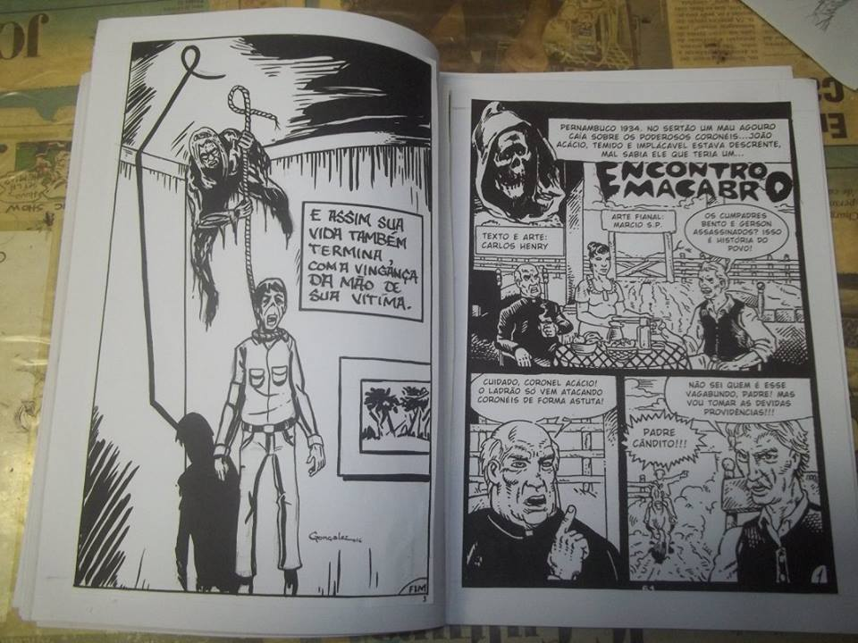"""Páginas do fanzine de terror """"Crônicas do Além"""""""