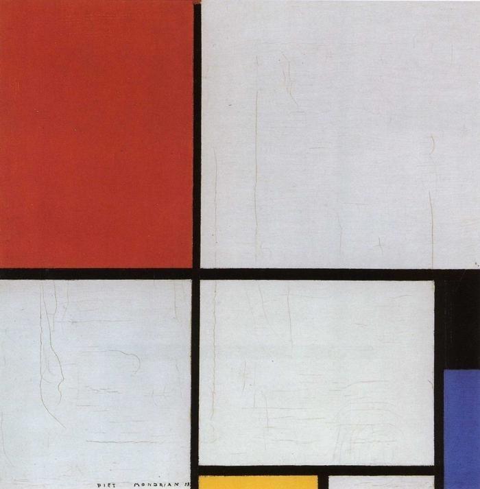 """""""Composição com Vermelho, Amarelo e Azul"""" de 1928, por Piet Mondrian"""