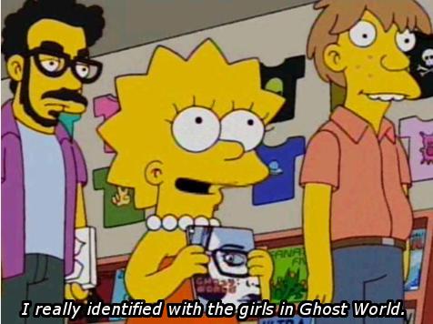 A legião de fãs não se estendeu apenas aos desajustados da vida real: Liza Simpson também se identificou com as meninas de Ghost World