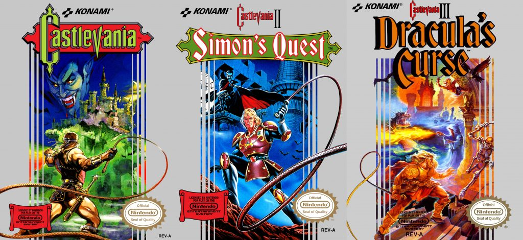 Castlevania nes-trilogy Em castlevania I, temos Simon derrotando o Dracula. Em Castlevania II, temos Simon derrotando o Drácula, mas com ilustradores meio ruins. E, enfim, em Castlevania III, temos Simon derrotando o Drácula feat. Final Fantasy.