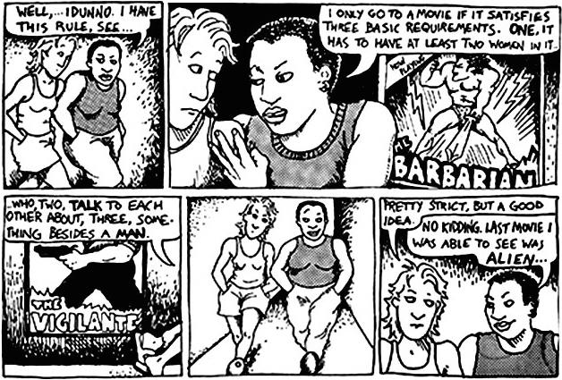Numa brincadeira de uam tirinha, BEchedel criou um teste compeltamente legitimo sobre a representação feminina em filmes. (Reprodução)
