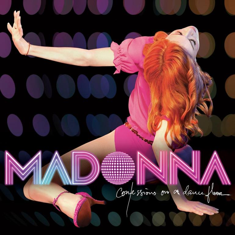 """Capa do álbum Confessions on a Dance Floor, de Madonna. A cantora é uma mulher branca e usa um vestido curto rosa. Ela está no centro da imagem, de costas, com os joelhos e a mão direita apoiada no chão. A mão esquerda no ar apontada para a esquerda. A cantora olha para cima. Foi adicionado um fundo preto com bolinhas coloridas, o texto """"MADONNA"""" em rosa e azul. O desenho de um globo de espelhos substitui a letra O da palavra MADONNA. Abaixo, foi adicionado """"Confessions on a Dance Floor"""" em letra cursiva."""