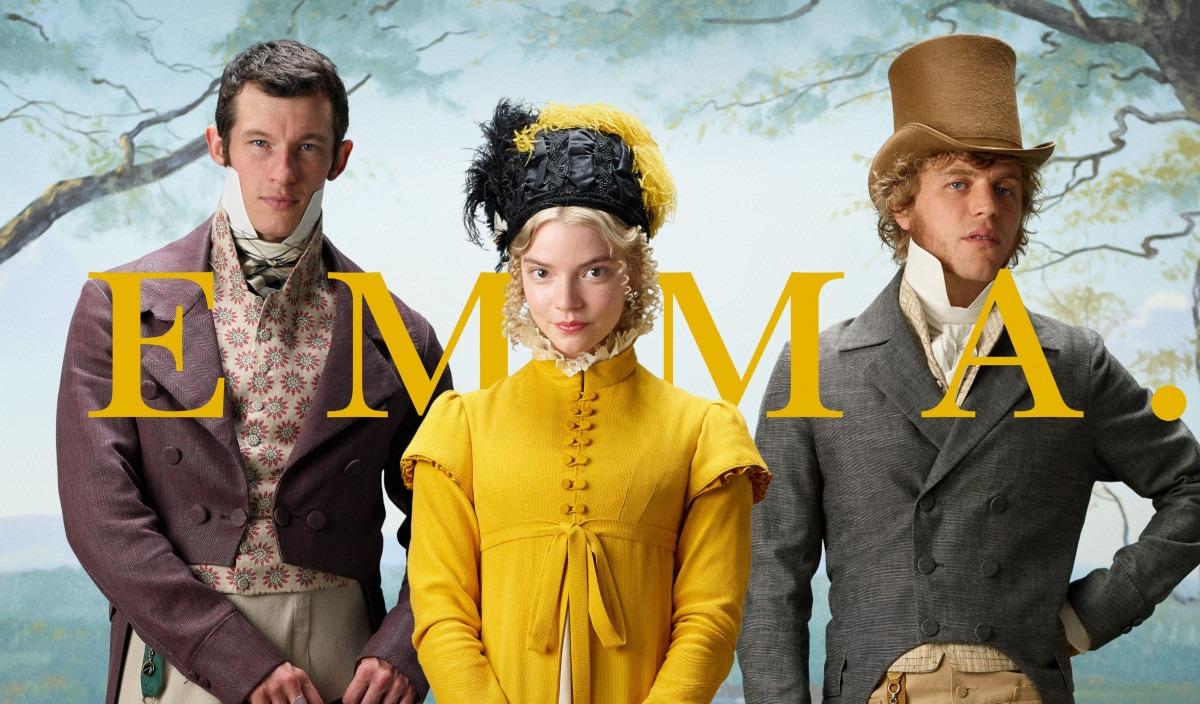Três personagens, Emma no centro, Knightley a esquerda e Churchill a direita. E o nome do filme a frente.