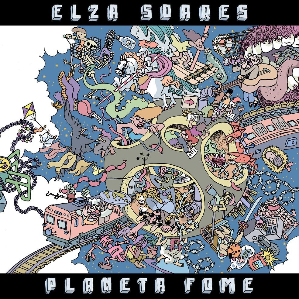 """Capa do álbum """"Planeta Fome"""", de Elza Soares. A imagem tem uma faixa preta no topo, onde está escrito """"Elza Soares"""" em caixa alta e numa fonte tridimensional num tom de azul acinzentado. Existe também outra faixa preta no lado inferior, onde está escrito, também em caixa alta num desenho tridimensional """"Planeta Fome"""", nas mesmas cores da frase anterior. Um desenho preenche todo o centro da imagem, ilustrando um planeta caótico."""