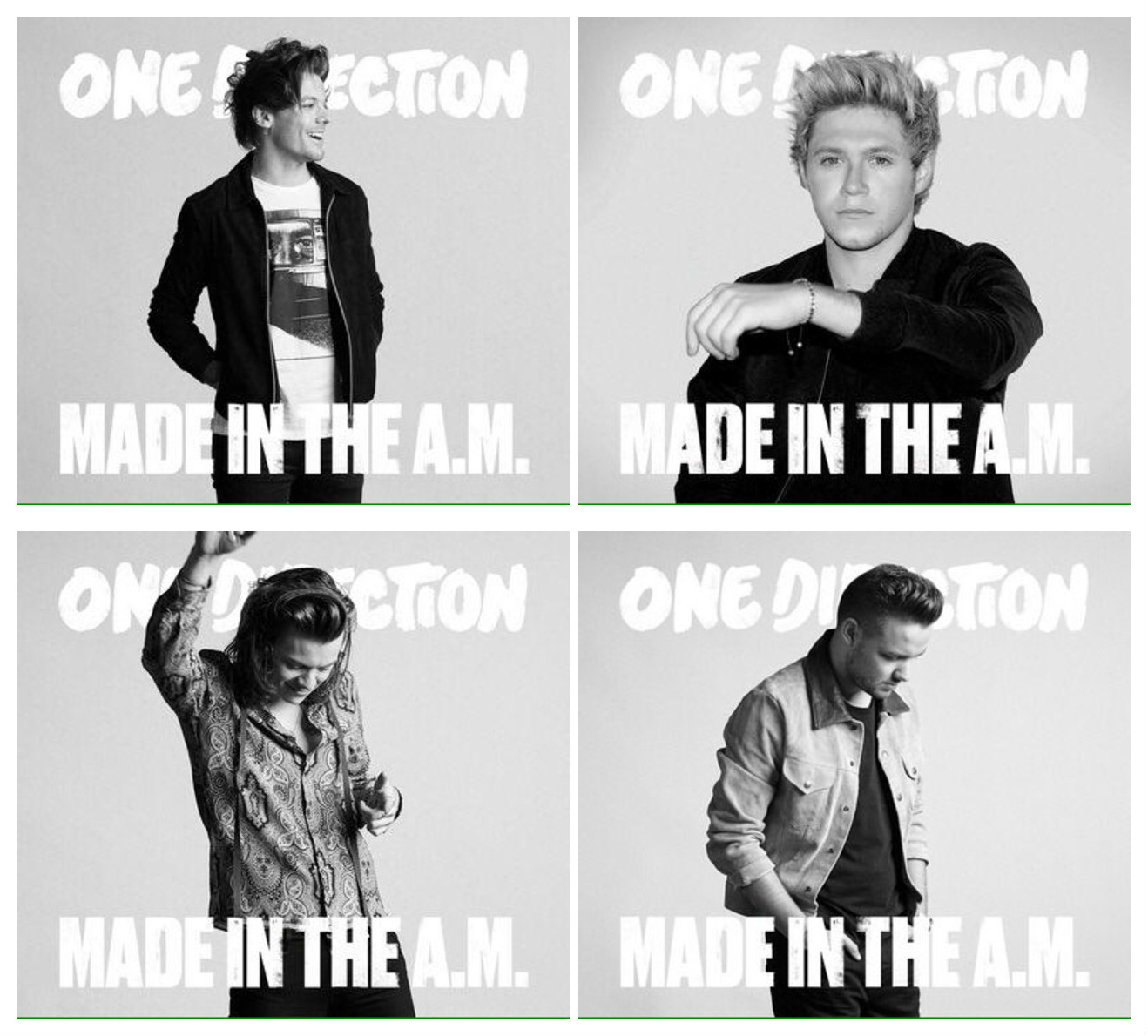 Montagem de quatro fotos dos integrantes da One Direction, em preto e branco. Em ordem, começando da parte superior esquerda: Louis, Niall, Harry e Liam.