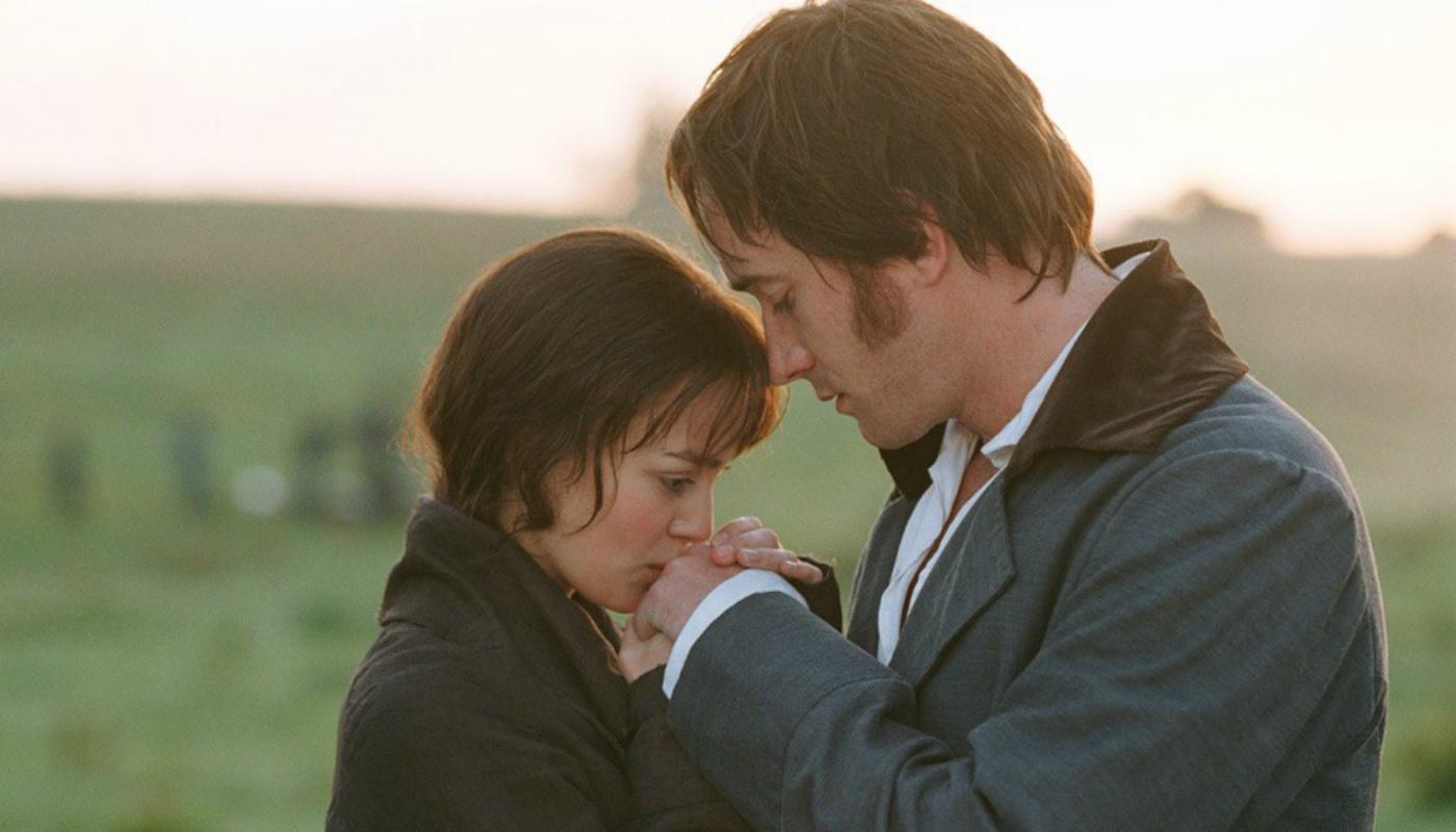 Na foto vemos ambos os protagonistas juntos ao amanhecer, Darcy e Elizabeth.