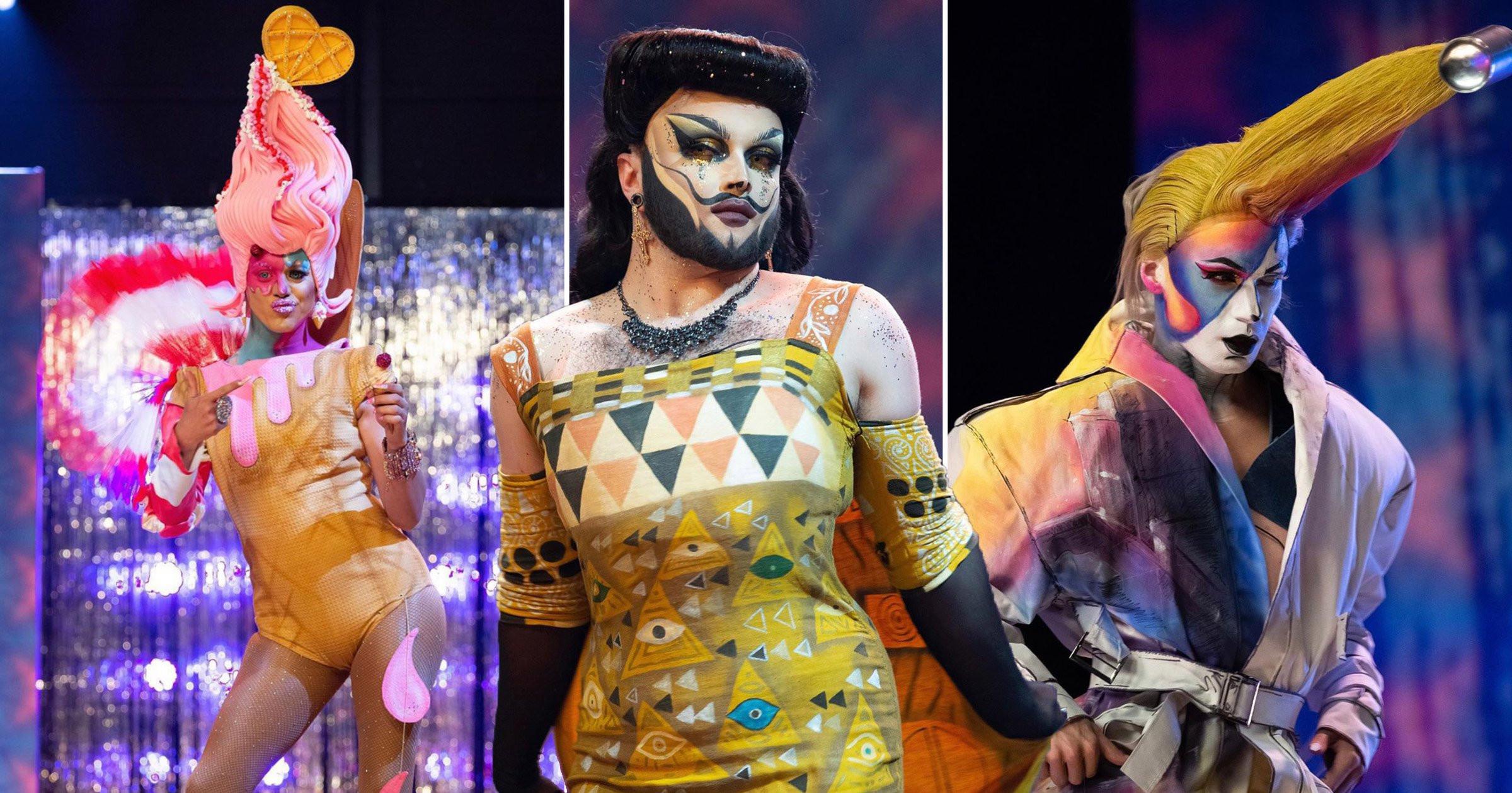 Uma colagem de 3 visuais na passarela: a primeira foto é de uma drag queen com pele parda que usa um maiô bege com detalhes rosa, e sua peruca imita um sorvete na casquinha, também cor de rosa; ao lado dela, uma drag queen branca, de barba e cabelos pretos, veste um vestido marrom e amarelo, ao seu lado uma drag queen usa uma peruca de topete amarelo e uma roupa branca, manchada com padrões de pichação.