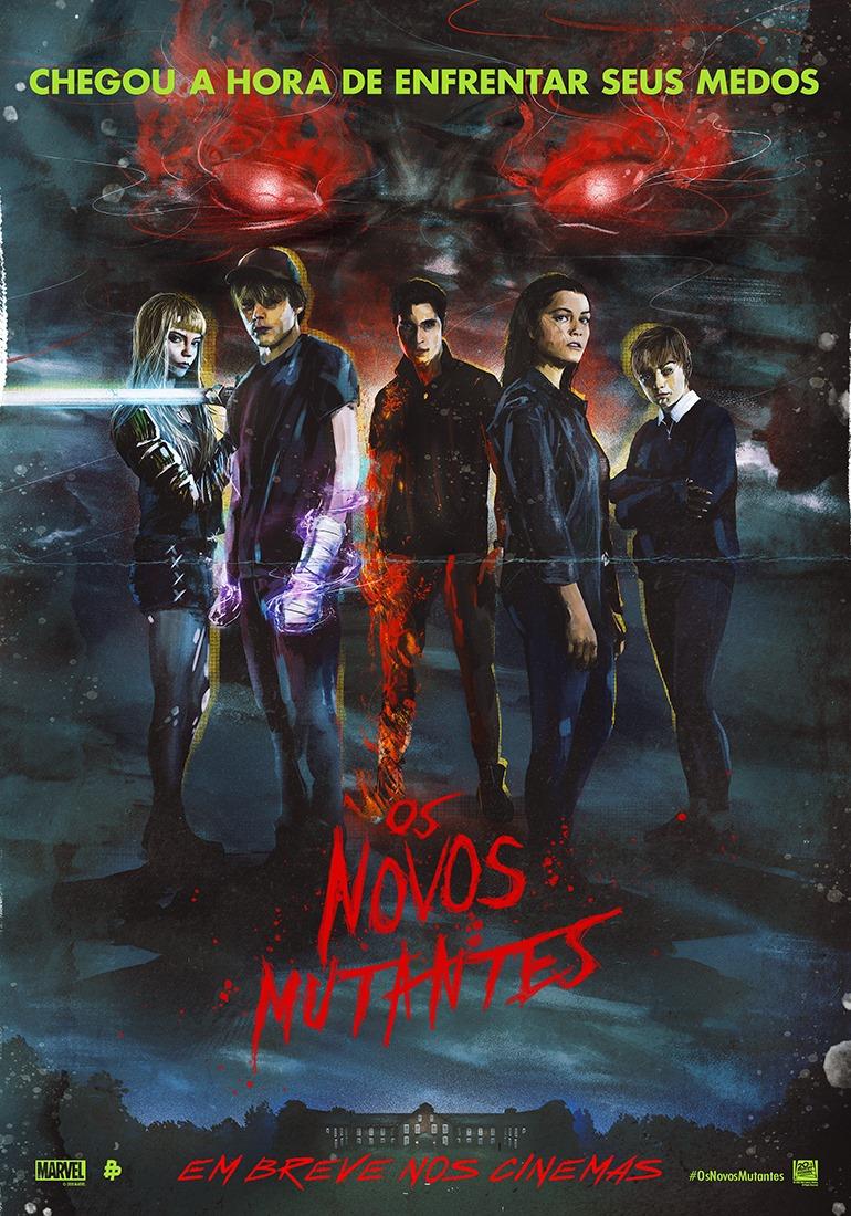 Poster do filme com estética dos anos 1980 no qual aparecem os cinco personagens principais. Ao fundo vemos um desenho estilizado de um urso com olhos vermelhos flamejantes. A frente o nome do filme também em vermelho.