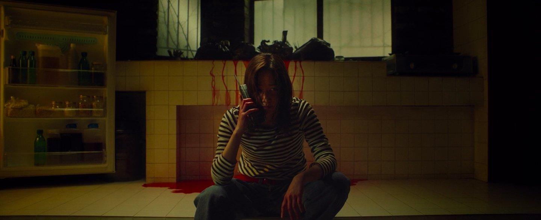 A imagem é de uma das cenas do filme. Nela, podemos ver uma das personagens sentada no chão da cozinha. A personagem é uma mulher de traços orientais, cabelo na altura dos ombros, e que veste uma blusa listrada de manga comprida e uma calça jeans. Na cena, ela está falando ao telefone. Ao fundo, é possível ver um pouco de sangue escorrendo pela parede da cozinha. Ao lado direito da personagem, há uma porta da geladeira aberta.