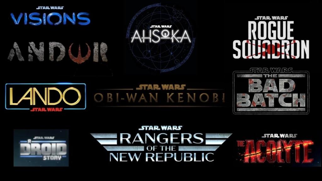 Imagem ilustrativa das novas séries do universo Star Wars, que traz os logos e os títulos das produções.