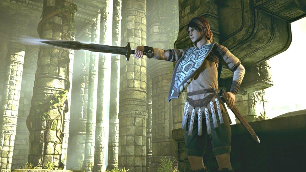 O personagem aponta sua espada para a frente, ele usa armadura e tem cabelos castanhos na altura do ombro