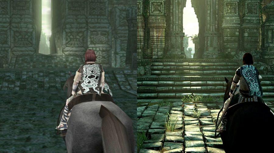 Comparativo do gráfico do jogo no PlayStation 2 e no 4, à esquerda é tudo menos detalhista e mais simples, quadrangular e sem cor. à direita, tudo é mais nítido, vemos tons mais vivos.