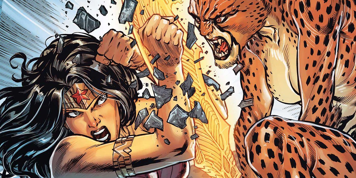 O desenho dos quadrinhos da Mulher Maravilha mostra apenas o rosto da heroína enquanto ela luta com a Mulher-Leopardo.