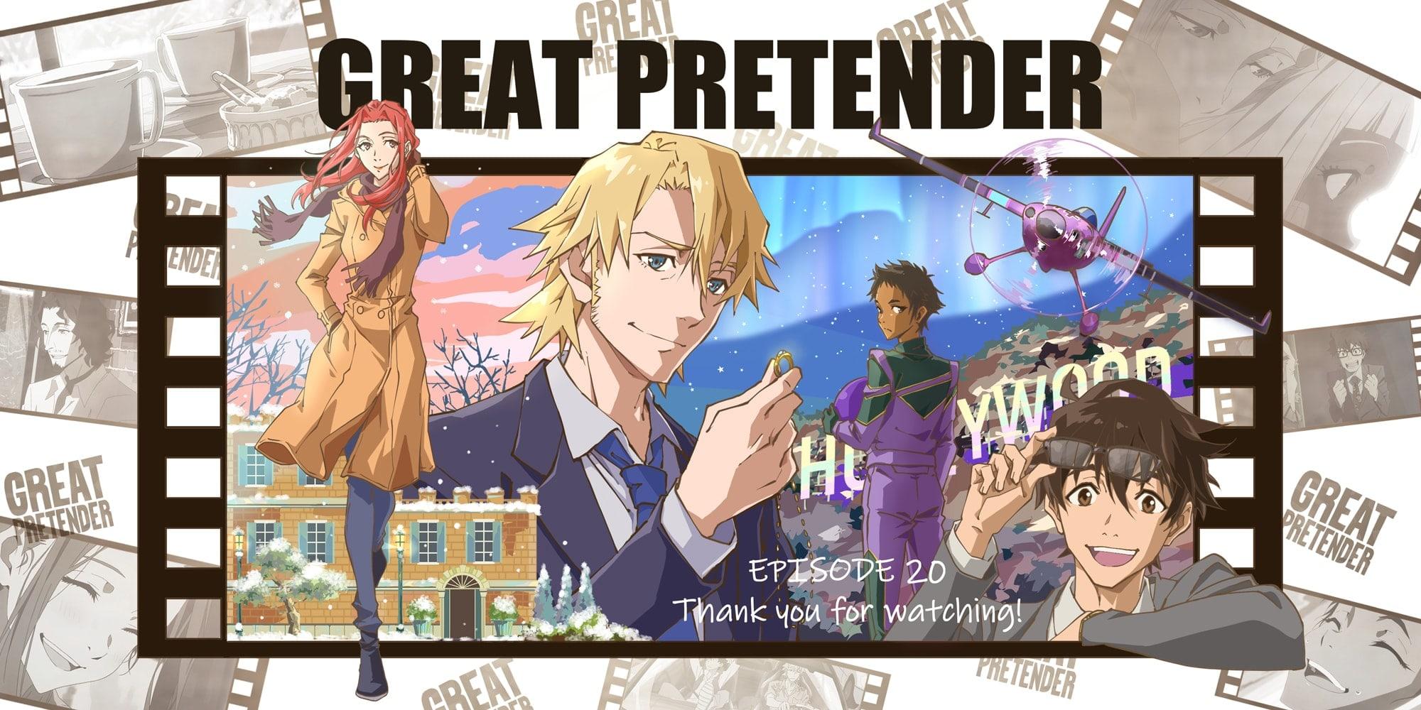 Os quatro personagens principais da esquerda para a direita: Cynthia, Laurent, Abigail e Makoto. Eles estão dentro de um quadro com uma moldura de filme e suas aventuras como painel de fundo para a foto