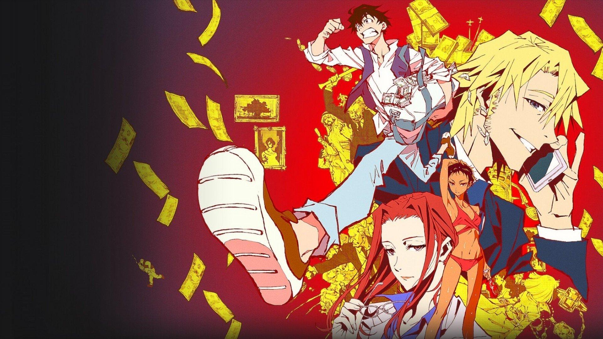 Na direita temos quatro dos personagens do anime. De cima para baixo há um garoto de cabelo castanho correndo com uma bolsa de dinheiro. Um homem loiro falando ao telefone. Uma garota em pé mexendo no cabelo e outra ruiva tirando os óculos.