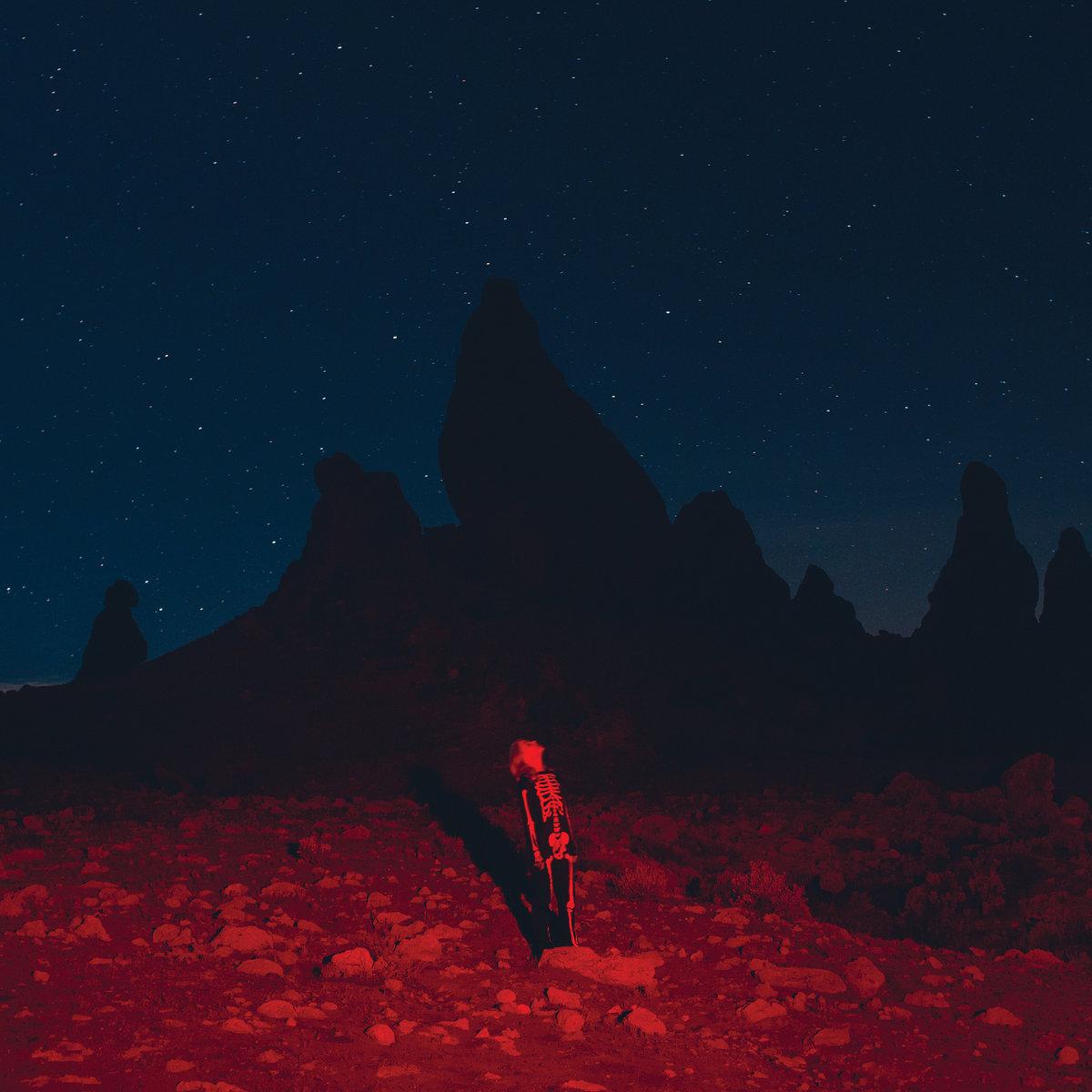 Capa do álbum Punisher. Mostra Phoebe Bridgers em pé e olhando para o céu, de perfil, com um macacão preto que imita um esqueleto. Ela está em um lugar cheio de pedras e ao fundo há uma montanha. O céu está estrelado e em azul escuro forte, enquanto o resto do quadro está sendo iluminado por uma luz vermelha.