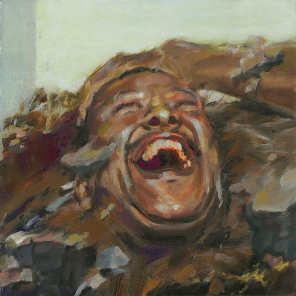 A imagem é a capa do álbum Piorou, da banda Tantão e os Fita. Na imagem, há o rosto de um homem sorrindo com os olhos fechados, ele está com a cabeça inclinada para cima. A imagem é uma arte pintada em tinta a óleo, com cores em tom marrom, cinza, rosa e laranja.