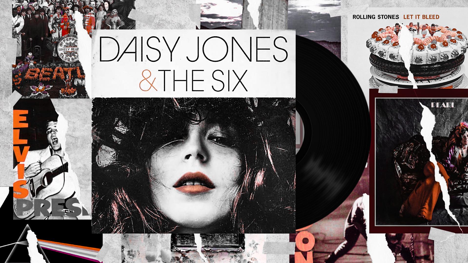 A imagem é uma colagem de diversas capas de álbuns rasgadas. No centro, a capa de Daisy Jones & The Six está escrita em letras pretas, e embaixo está o rosto de uma mulher branca com nariz fino e batom vermelho.