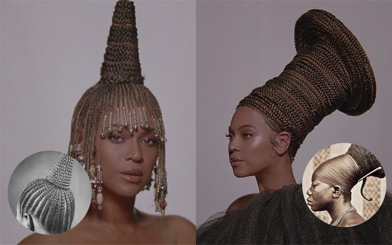 A imagem é uma colagem com duas fotografias da cantora Beyoncé. Beyoncé é uma mulher negra. À esquerda, é possível visualizar do seu ombro para cima, a cantora está com um penteado nigeriano, com tranças e um coque em formato de cone. Ao seu lado direito, nessa mesma foto, há um círculo com uma fotografia do penteado em tons cinzas. Ao lado direito da colagem, também é possível ver do ombro para cima da cantora, e ela usa um penteado inspirado no povo Mangbetu, com um longo coque formado por tranças, que ao final se abre em um formato de disco. Ao seu lado direito, na mesma foto, há um círculo com uma fotografia de um homem utilizando esse mesmo penteado.