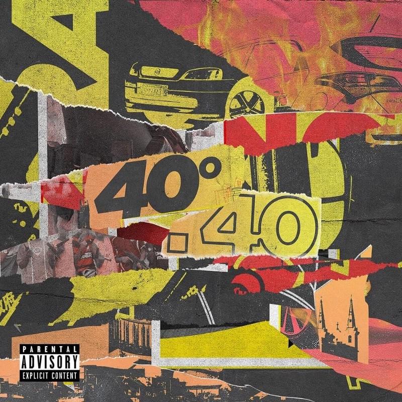""": A imagem é capa do álbum 40º.40 do cantor SD9. A imagem é formada por várias colagens de papel nas cores amarelo, rosa, preto e vermelho. No centro da imagem há uma colagem com o nome do álbum. """"40º"""" está escrito com uma letra preta, já """".40"""" possui apenas o traço na cor preta e seu preenchimento é amarelo."""