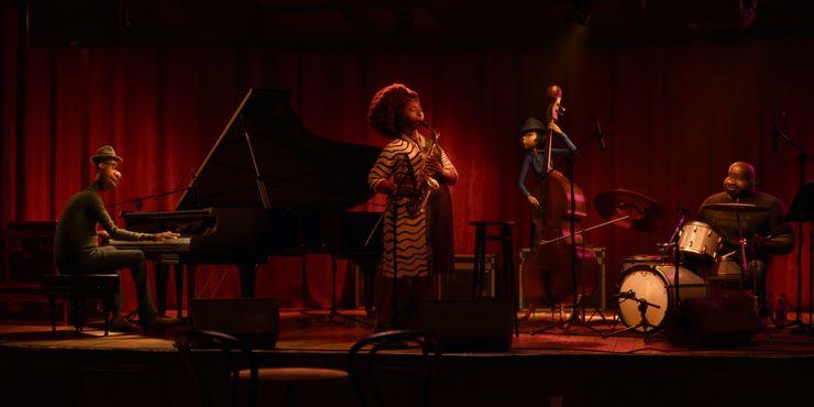 Quarteto de Dorothea Williams tocando no palco de um clube de jazz, com o fundo vermelho, feito de cortinas. Na esquerda está Joe, tocando piano com os olhos fechados. Ao lado temos Dorothea Williams, em pé tocando saxofone, com os cabelos cacheados soltos e um vestido de estampa de zebra. Após, temos Miho tocando um violoncelo. Ela usa chapéu, com um cabelo liso cobrindo os olhos, uma camisa social azul e um suspensório. Por fim, Curley na bateria. Ele sorri olhando para o lado de Joe. Curley é careca, com uma barba rala e usa uma camiseta preta.