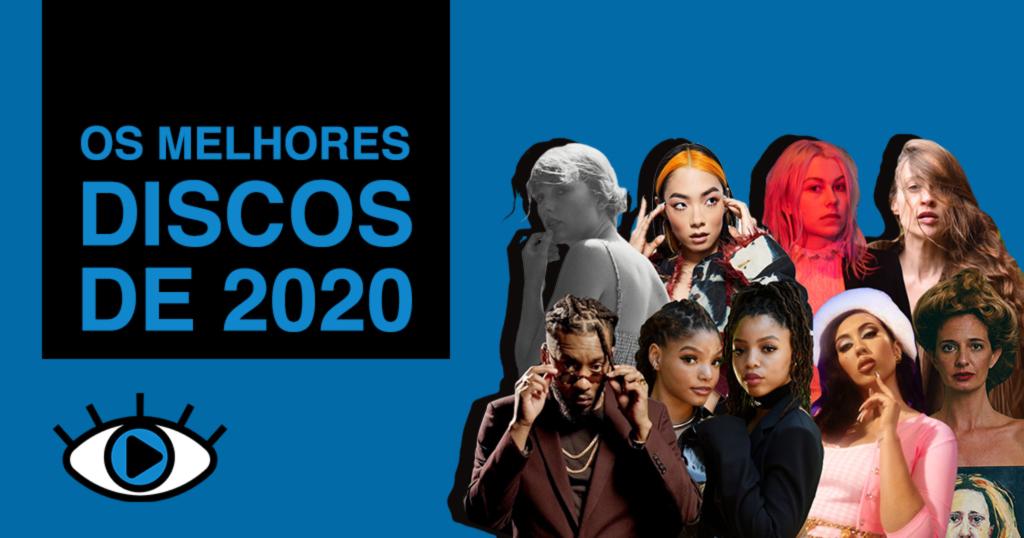 """Arte retangular com fundo azul. No canto superior esquerdo, foi adicionado o texto """"OS MELHORES DISCOS DE 2020"""" em azul, dentro de um retângulo na cor preta. No canto inferior esquerdo, foi adicionado o logo do Persona. No canto inferior direito foi adicionado uma colagem com 9 artistas, em ordem: Taylor Swift, Rina Sawayama, Phoebe Bridgers, Fiona Apple, BK', Chloe x Halle, Kali Uchis e Letrux."""