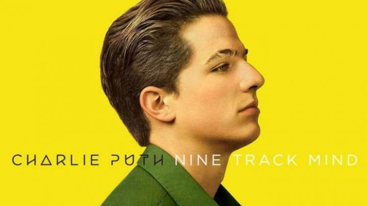 """Capa do álbum Nine Track Mind. Fotografia retangular com fundo amarelo. Charlie Puth, homem branco de cabelos castanhos escuros, está de perfil voltado para a direita e encontra-se no centro. Ele possui uma cicatriz na sobrancelha direita. Ele veste uma camisa verde musgo. Na parte inferior, pode ser ler """"Charlie Puth"""" em preto seguido de """"Nine Track Mind"""" em branco."""