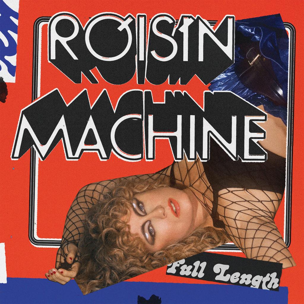 """A imagem é capa do álbum Róisín Machine da cantora Róisín Murphy. A imagem possui um fundo vermelho e no centro há o nome do álbum """"Róisín Machine"""" escrito em branco com uma profundidade e preenchimento na cor preta. No canto esquerdo da imagem, há uma mulher branca com cabelo loiro cacheado. A mulher veste blusa preta e saia azul com um cinto preto. Além disso, ela está de ponta cabeça. A imagem ainda possui detalhes em azul royal e a frase """"Fall Length"""" no canto inferior direito."""