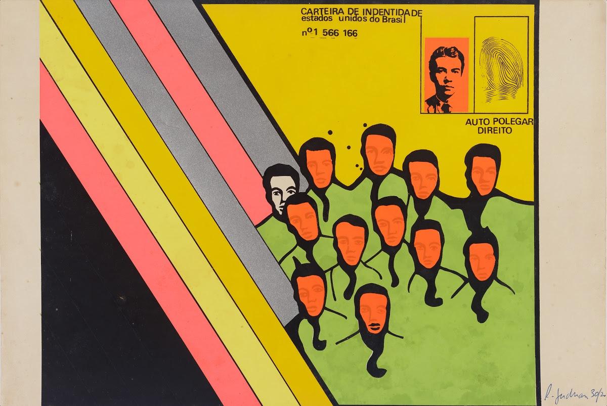 A imagem contém a obra Carteira de Identidade (Auto Polegar Direito), do artista Rubens Gerchman. Com fundo preto no lado inferior direito, seguido por listras coloridas (rosa, amarelo em dois tons, roxo, rosa e roxo), e por fim um fundo amarelo. No lado esquerdo da obra existem imagens de homens com rostos alaranjados sem expressão, e com vestes verdes, e a direita um único homem com o rosto branco e veste verde. Na parte superior esquerda tem uma ilustração de uma carteira de identidade, com um rosto laranja impresso e uma impressão digital ao lado.