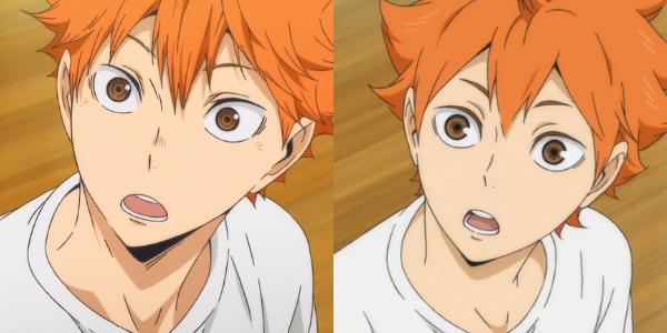 Cena da animação Haikyuu!!. Duas imagens iguais do personagem Hinata olhando para a câmera. Mas a da esquerda está na animação nova e a da direita na antiga.