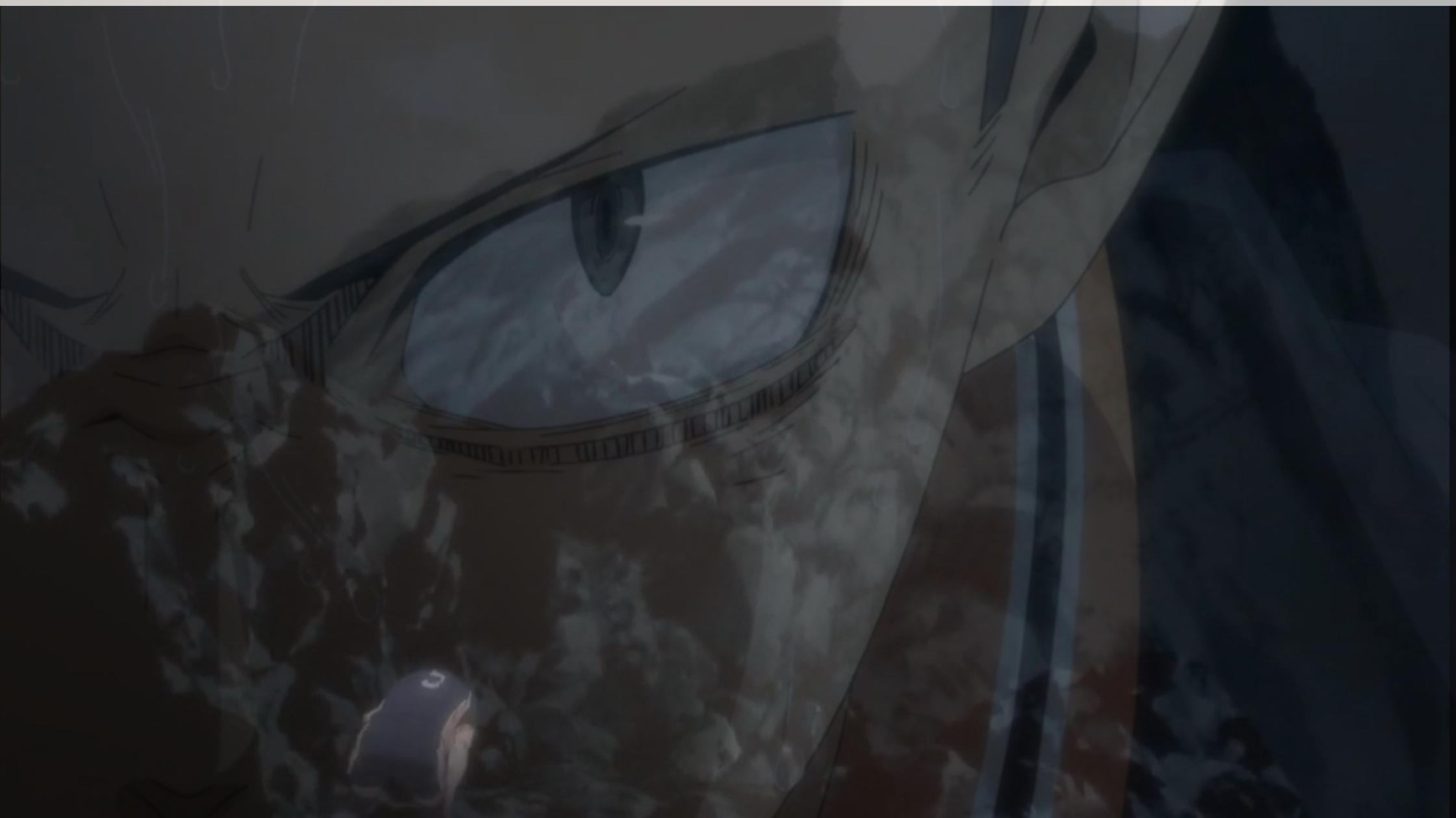 Cena da animação Haikyuu!! Personagem Tanaka agachado e de frente a uma montanha. Em sobreposição aparece os olhos determinados dele encarando a câmera.