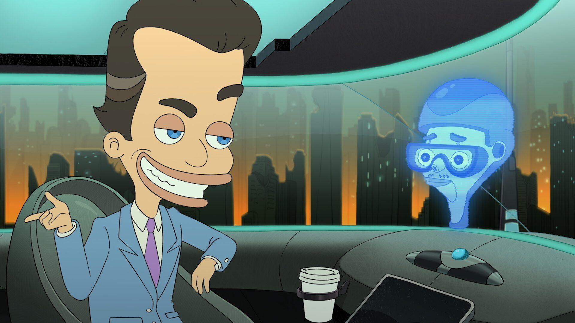 Cena da sitcom animada Big Mouth em sua quarta temporada. Em primeiro plano, à esquerda, está o personagem Nick Star, ele é mostrado com a cabeça projetada ¾ para a parte frontal da câmera e sorrindo, o personagem tem traços como tamanho da cabeça, testa e boca extremamente distorcidos e exagerados. Ele é um homem branco, magro, de olhos azuis e cabelo castanho curto usando um terno azul claro com uma gravata roxa e camisa branca. À direita está uma projeção holográfica da cabeça do criado robô de Nick. O personagem também é mostrado com a cabeça projetada ¾ para a parte frontal da câmera e com uma expressão neutra. Ele também tem seu rosto desenhado de forma bastante distorcida, típica de um cartoon. O personagem está completamente azulado e aparece usando um capacete e óculos. O cenário principal é o interior de uma nave, com um porta copos centralizado embaixo tocando na margem da cena. O plano de fundo secundário é uma cidade ao alvorecer e com muitos prédios ao fundo.