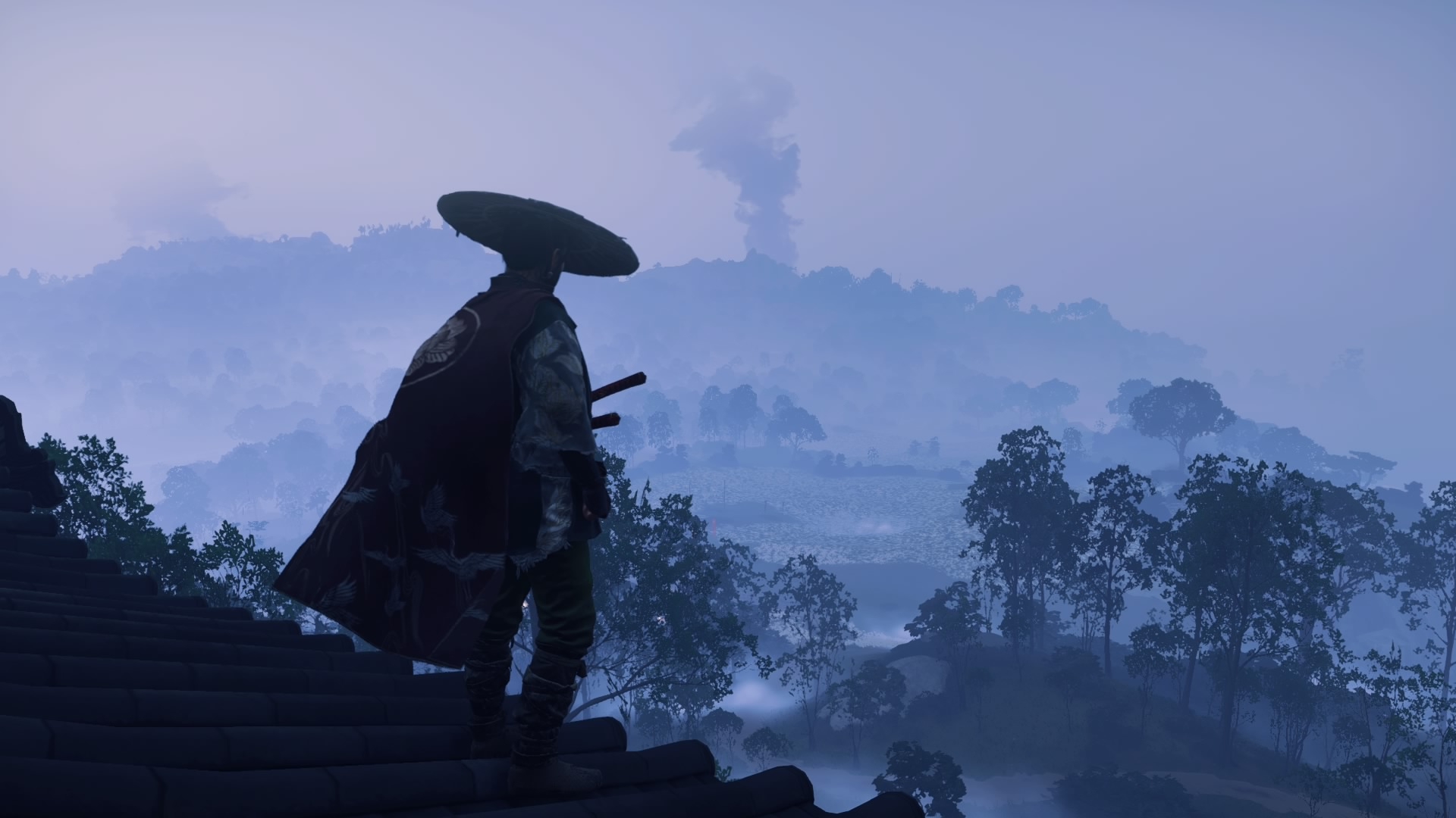 Cena do jogo Ghost of Tsushima. Fim de tarde, com um céu azulado. Jin Sakai, o protagonista, está de costas para a câmera, observando a paisagem marcada por árvores e montanhas imersas em uma neblina densa. Ao longe, uma coluna de fumaça se ergue. Jin usa um chapéu de palha circular e roupas de viajante, com uma capa carmesim.