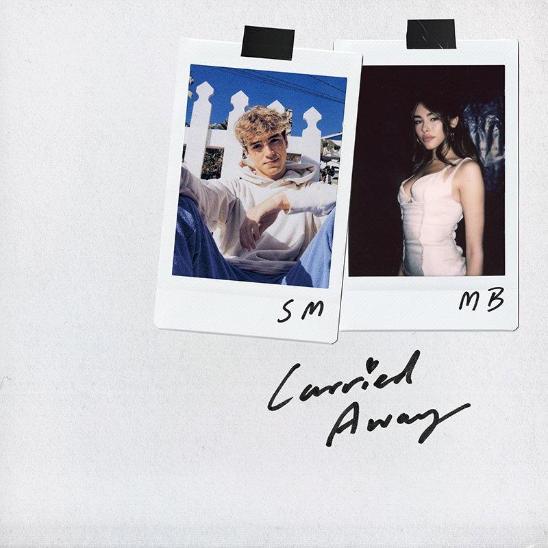 Capa do single Carried Away. Acima de um fundo branco, encontram-se suas polaroids. A da esquerda é uma foto de Surf Mesa, com suas iniciais escritas na borda, e a da direita é Madison Beer, também com suas iniciais. O nome da música, Carried Away, está escrito em preto em baixo das polaroids.