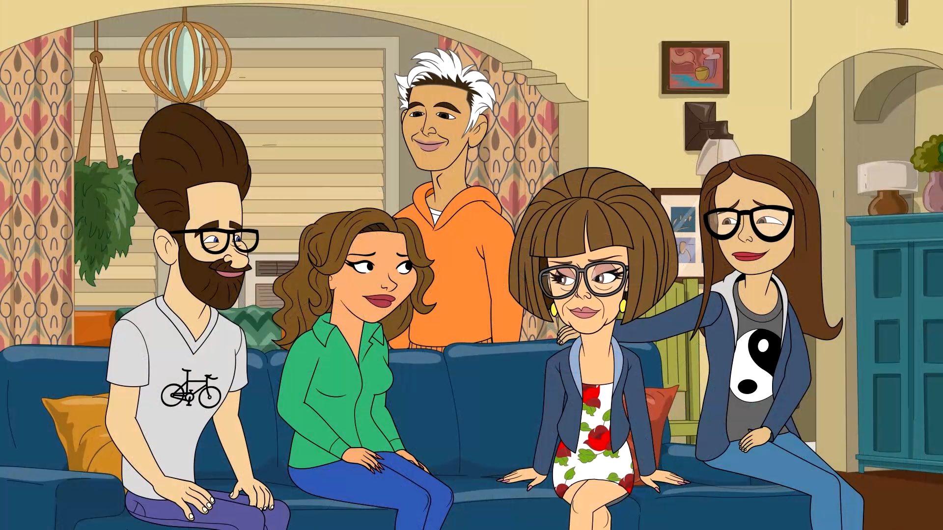 Cena de One Day At a Time. Nela os personagens são representados em forma de desenho animado. Ao lado esquerdo vemos Schneider com uma blusa branca e calça azul. À direita vemos Penélope com camisa verde e calça azul. À direita vemos Lydia com vestido branco e flores vermelhas e jaqueta azul. À direita vemos Elena com blusa cinza, jaqueta e calça azuis. Todos estão sentados num sofá azul. Em pé na parte central vemos Alex. Ele veste moletom laranja. O fundo do desenho representa a sala da família