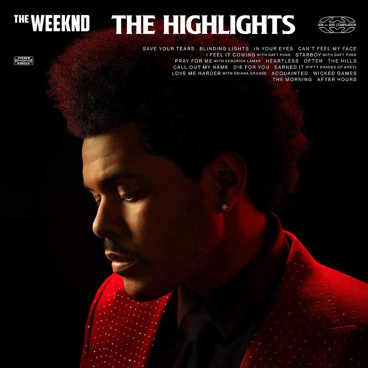 Capa do CD The Highlights. Fotografia quadrada com fundo preto. O perfil de The Weeknd está localizado no centro do quadro. Um homem negro de cabelo crespo. Ele veste um paletó vermelho vivo, cravejado de brilhantes. A luz é quase inexistente, iluminando principalmente sua testa, nariz e queixo e fazendo o contorno de seu corpo. Na parte superior está escrito: The Weeknd, The Highlights, tem o selo da gravadora e as músicas do álbum.