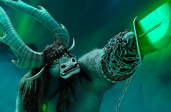 Cena do filme Kung Fu Panda 3. Na imagem o vilão Kai é representado por um touro, ele segura uma arma em formato de uma espada verde brilhante, com correntes. Ao fundo, luzes verdes e tons escuros.
