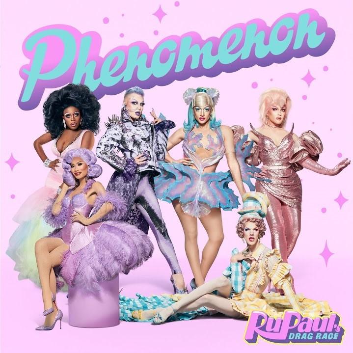 Capa do single Phenomenon. O fundo é rosa, com detalhes rosa escuro com formas de trapézios e estrelas. Ao topo, está escrito Phenomenon em letras azul bebê e contorno roxo. Na foto, vemos 6 drag queens, 4 em pé e duas sentadas.