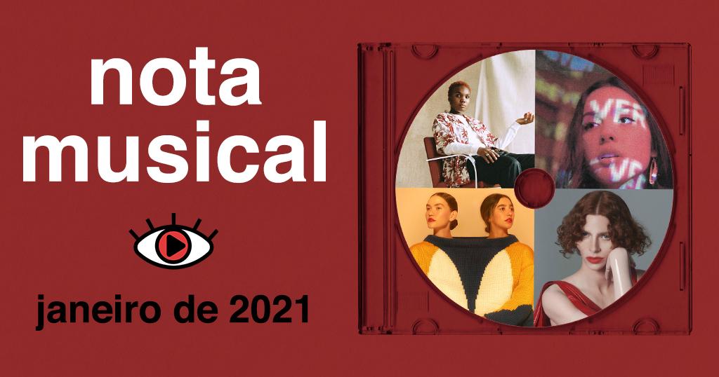 """Arte retangular vermelha. No lado esquerdo, foi adicionado o texto """"nota musical - janeiro de 2021"""" e o logo do Persona. No lado direito, foi adicionado a capinha de um CD transparente. Dentro, foi adicionado um disco com quatro fotos: Arlo Parks, Olivia Rodrigo, ANAVITÓRIA e SOPHIE."""