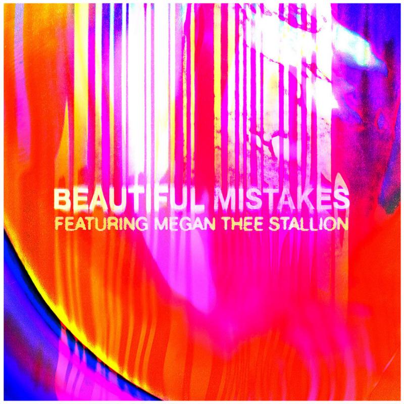 """Capa do single de Beautiful Mistakes de Maroon 5 e Megan Thee Stallion. A imagem mostra o nome da música em letras brancas, centralizado na imagem. Abaixo vemos a inscrição, também em branco, """"featuring Megan Thee Stallion''. O fundo da imagem é uma mistura das cores laranja, rosa, azul, vermelho e roxo, que formam um desenho psicodélico."""