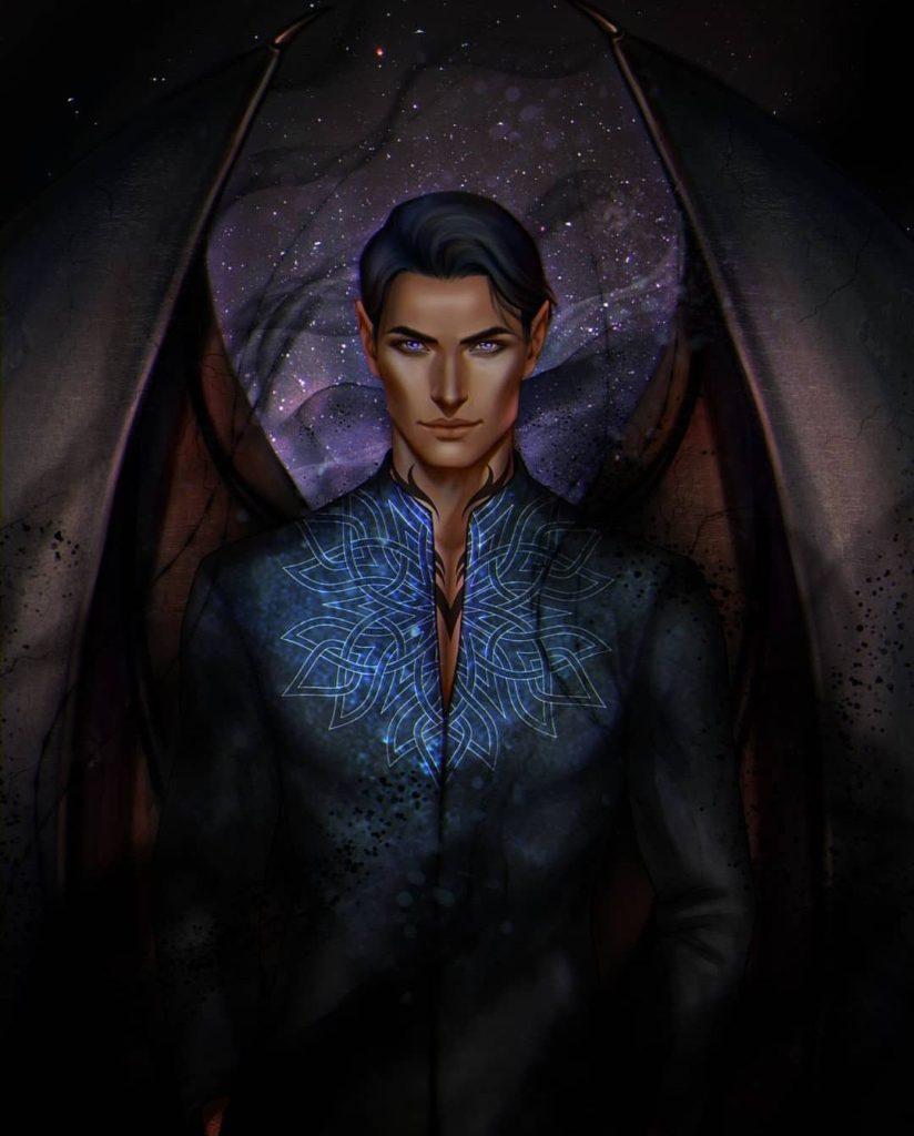 A fanart retrata Rhysand, cercado por sombras e com um fundo de noite estrelada, com suas asas à vista. O feérico encara com seus olhos roxos, seu cabelo preto caindo na sua testa, usando uma camisa preta aberta no seu peito onde pode-se ver o começo de uma tatuagem.