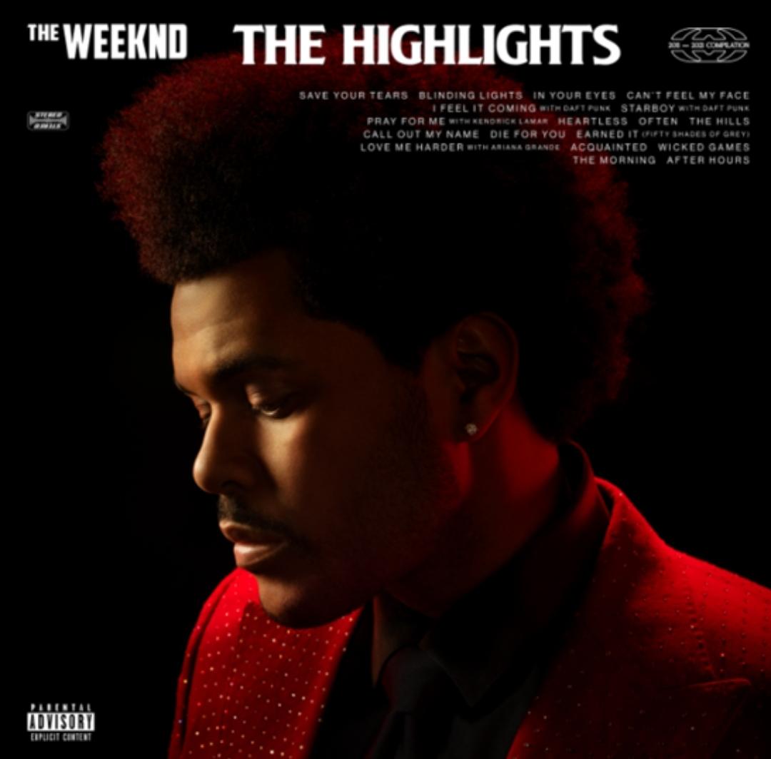 Capa do álbum The Highlights. The Weeknd está no centro da capa, focado do busto para cima. Ele olha levemente para baixo. Há sombras em seus rosto, e ele usa um paletó vermelho e uma camise preta. Há um brinco na sua orelha esquerda. Seu cabelo é preto e crespo. O fundo da imagem é preto. No alto, está as palavras THE WEEKEND e THE HIGHLIGHTS em letras brancas. Abaixo, estão o nome de todas as músicas do CD, em fontes menores.