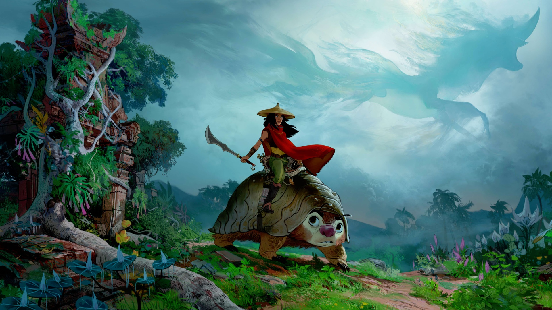 O cenário é uma floresta, com construções antigas cobertas por vegetação. No centro da imagem está uma Raya, uma mulher de pele clara, com um chapéu de palha em formato de disco, uma capa vermelha balançando ao vento, uma calça verde, e empunhando uma espada. Ela está montada em uma espécie de tatu bola gigante, com uma cela. No céu, forma-se a imagem de um dragão nas nuvens.