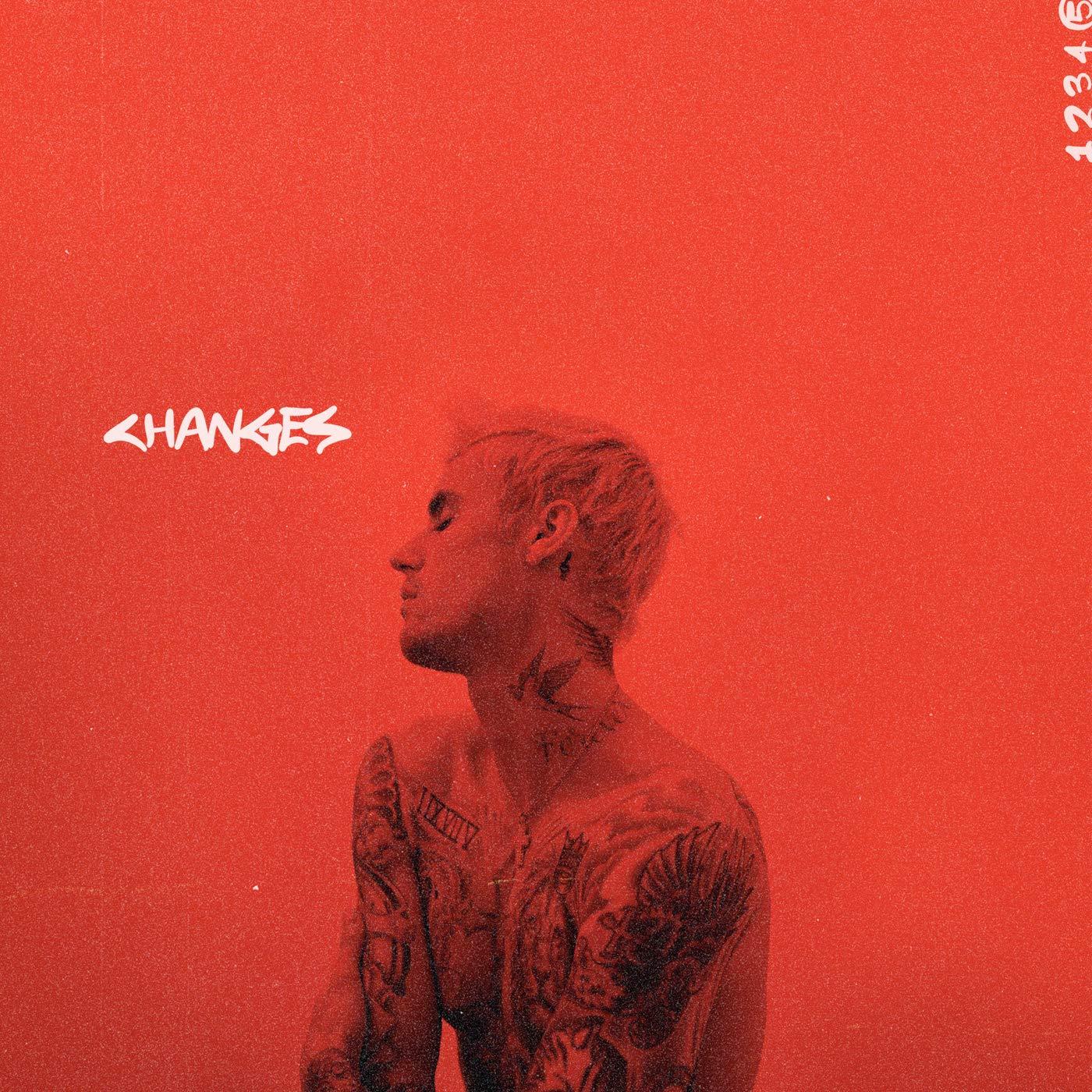 A imagem é a capa do álbum Changes, do cantor Justin Bieber, ela está colorida em tom vermelho. Ao centro da imagem, está o cantor Justin Bieber, sentado, de olhos fechados e com o rosto virado para o seu lado direito. Justin é um homem branco, de cabelos lisos e curtos e com várias tatuagens ao redor do corpo, ele está sem camisa. Um pouco acima do seu rosto, ao lado esquerdo da imagem, está a palavra CHANGES, escrita em fonte branca. Ao lado superior direito da imagem, na vertical, estão os números 12345, também escritos em fonte branca.