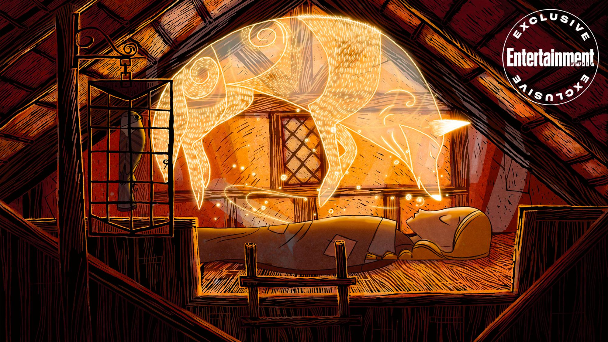 Cena do filme Wolfwalkers. Na imagem, vemos um aposento que aparenta ser o sótão de uma casa de madeira. Deitada no centro, Robyn, uma menina com cabelos loiros presos em uma trança, dorme coberta. Pairando em cima dela, vemos o contorno iluminado de um lobo.