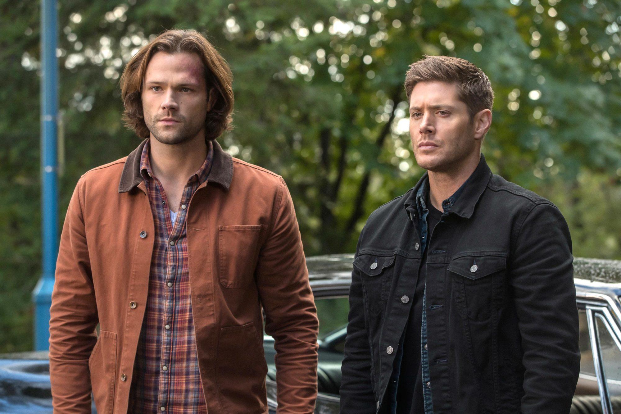 Sam e Dean estão enquadrados da cintura para cima no meio da imagem. Sam, cabelos castanhos e barba curta, está vestindo uma camisa xadrez e um casaco marrom por cima. Dean, cabelos castanhos, está vestindo uma camiseta preta e duas jaquetas por cima, uma azul e uma preta. Atrás deles de forma desfocada o cenário é composto por árvores e o carro impala preto e um poste azul ao lado esquerdo.