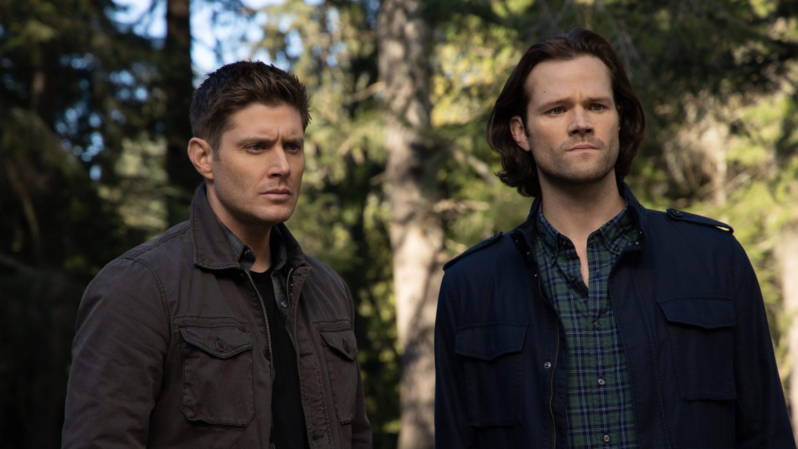 Sam e Dean estão enquadrados no centro da imagem do peito para cima. Dean, cabelos castanhos, está vestindo uma camiseta e uma jaqueta cinza por cima e Sam, cabelos castanhos e barba curta, está vestindo uma camisa xadrez e uma jaqueta azul marinho. Atrás deles de forma desfocada o cenário é totalmente composto por árvores.