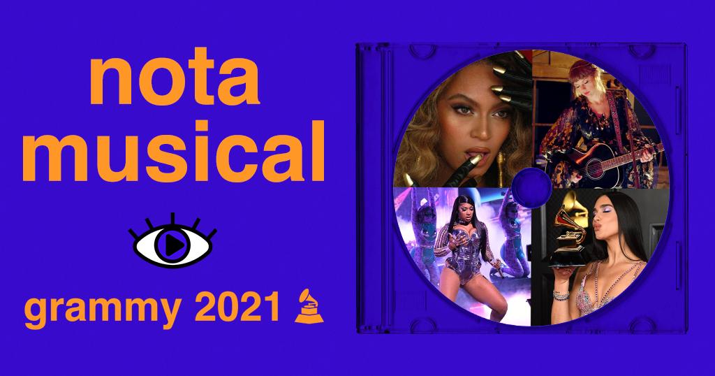 """Arte retangular de fundo na cor azul vivo. Do lado esquerdo, foi adicionado o texto """"nota musical - grammy 2021"""" e o desenho de um gramofone, na cor laranja vivo. Foi adicionado também o logo do Persona, estilizado de forma com que a íris do olho fique azul. Do lado direito, foi adicionado um acrílico de CD com um disco dentro. Dentro do disco foram adicionadas 4 fotos: de Beyoncé, Taylor Swift, Megan Thee Stallion e Dua Lipa."""