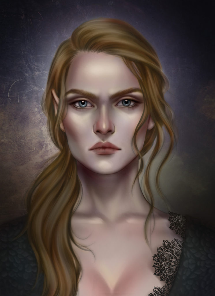 A Fanart mostra um retrato de Nesta Archeron, com seus cabelos castanhos amarrados para um dos lados e seu rosto sério.
