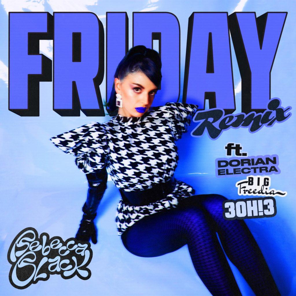 Arte da capa de Friday (Remix), de Rebecca Black. A cantora está em primeiro plano, sentada no chão vestindo uma blusa estampada azul e branca. Ela usa batom azul e olha diretamente para a câmera. Foi adicionado ao fundo o escrito FRIDAY em azul, e na frente: Remix, ft. Dorian Electra, Big Freedia e 3OH!3.